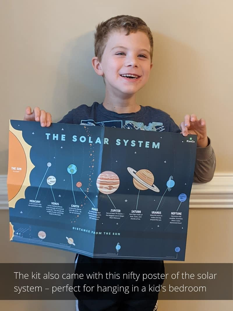 The kit also came with this nifty poster of the solar system, perfect for hanging in a kid's bedroom