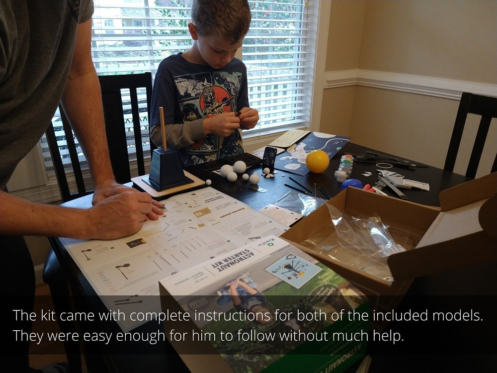 The kit came with complete instructions for both of the included models. They were easy enough for our son to follow without much help.