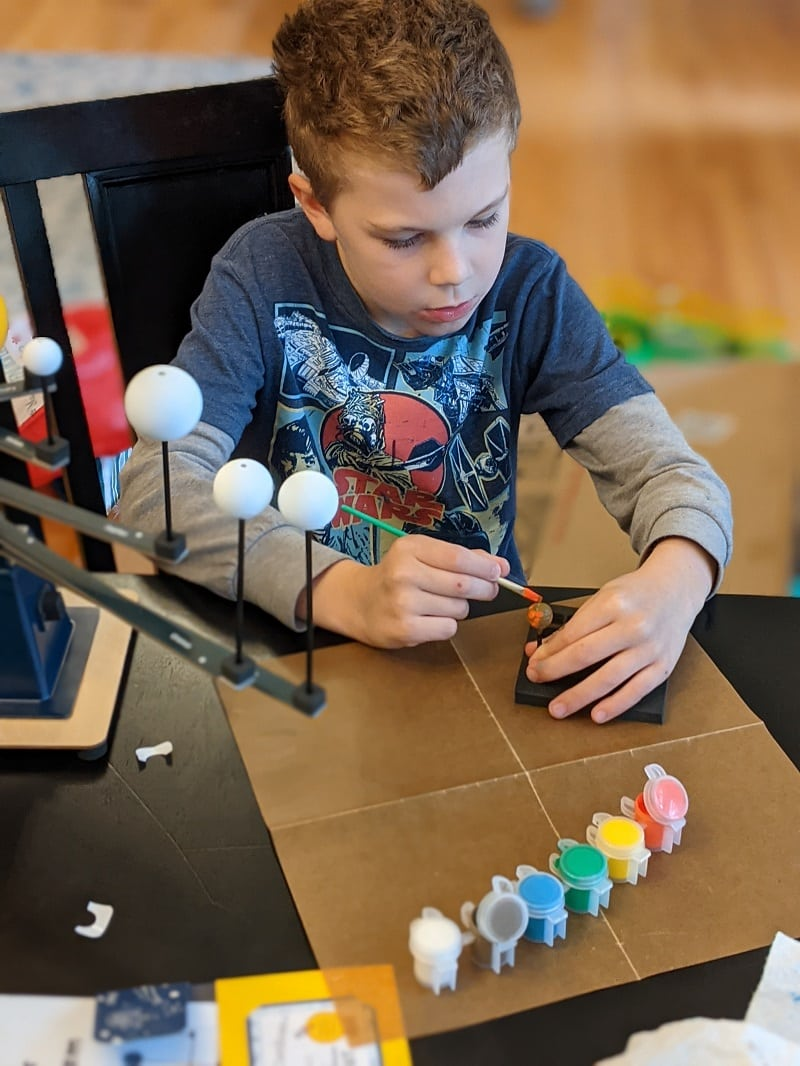 KiwiCo Astronaut Starter Kit and Solar System Model - Painting the planets