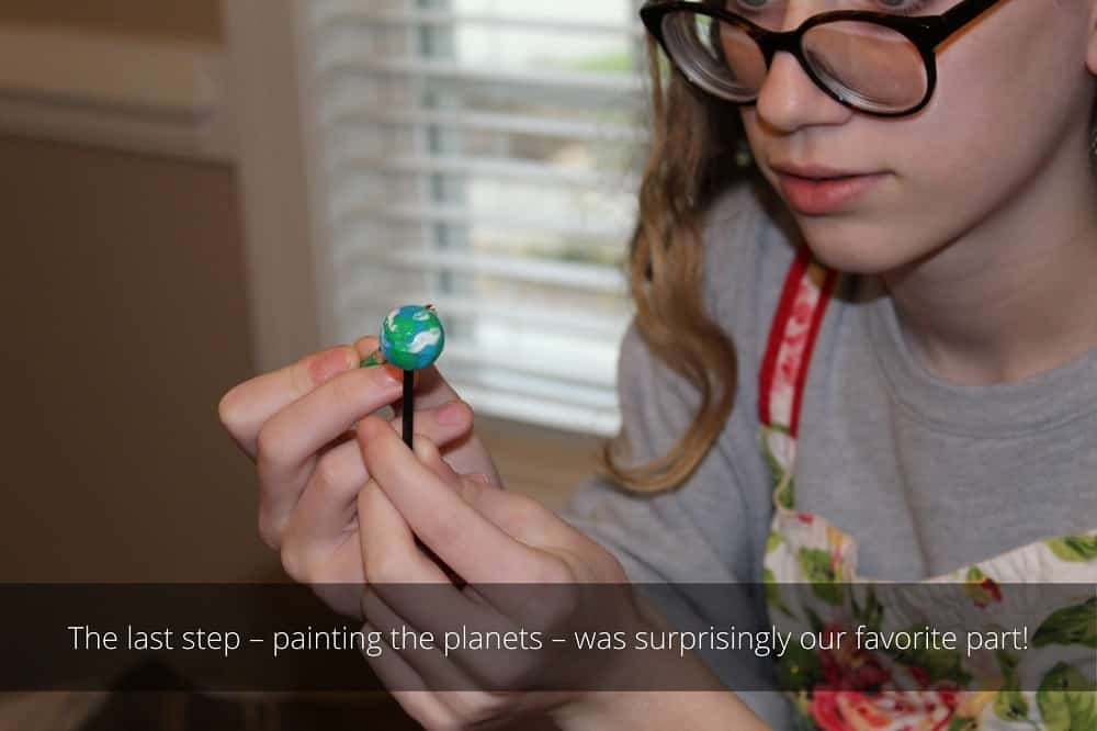 The last step - painting the planets - was surprisingly our favorite part